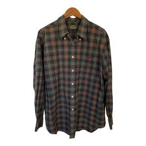 Orvis Colection Mens Plaid Oxford Casual Long